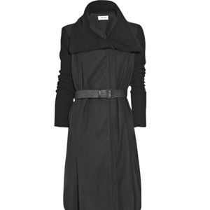 Helmut Lang Black Gray Wool Coat Leather belt p xs